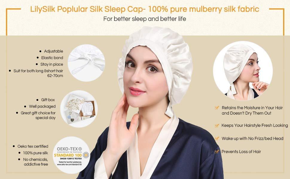 LilySilk Silk Sleep Cap for Hair Stretchy 100% Pure Silk Hair Cap Women's  Bonnet
