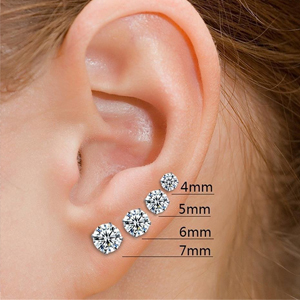 6mm earrings actual size 925 sterling silver 4mm cz stud earrings unique 6821