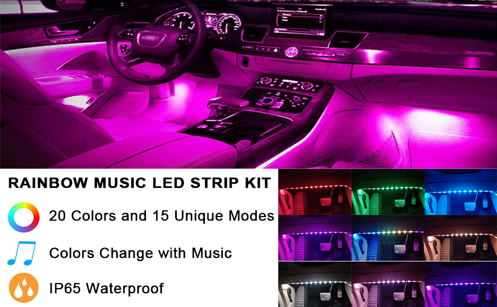 Car music rainbow led strip light rainbow color music activated music led strip lights are different from other ordinary strips it syncs with music and illuminates accordingly 5050 led rgb music lights create a aloadofball Gallery