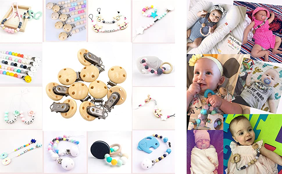 50 Pack, White Ocharzy Pacifier Clip Wooden Clip Selectable Silicone Teething Beads Suspender Clips