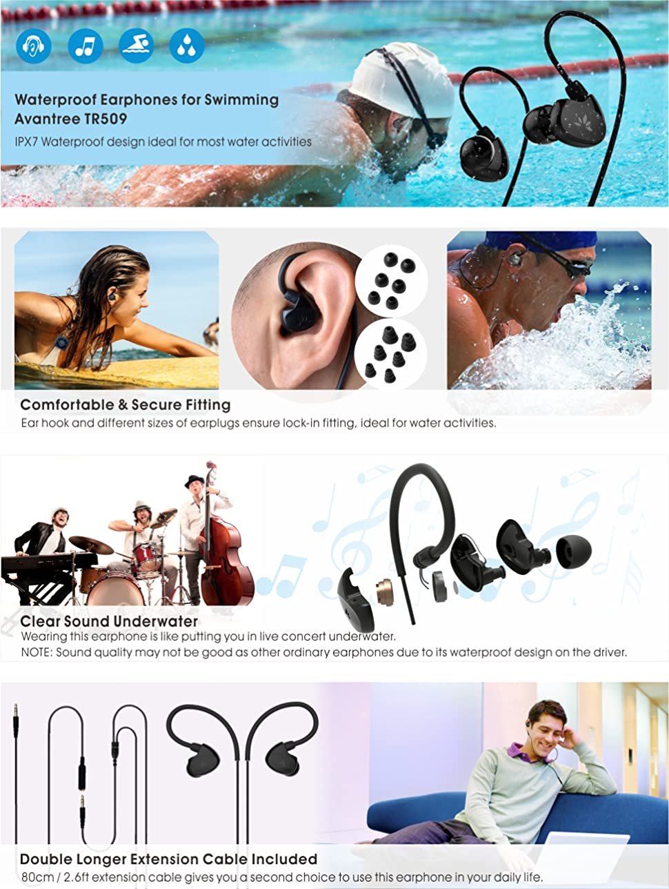 efdfb33dde1 Avantree Secure Fit Waterproof Earbuds for Swimming, Headphones for Running  / Runners, Sports, Diving, Surfing, IPX7, Short Cord with Ear Hook and 6  Pair ...