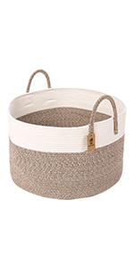 Woven Basket Woven Storage Hamper for Pillow Blanket Basket in Nursery Room Deractive Rope Basket Gray Oblong Design 23.6L X 17.7H /×13.8W INDRESSME XXX Large Cotton Rope Basket