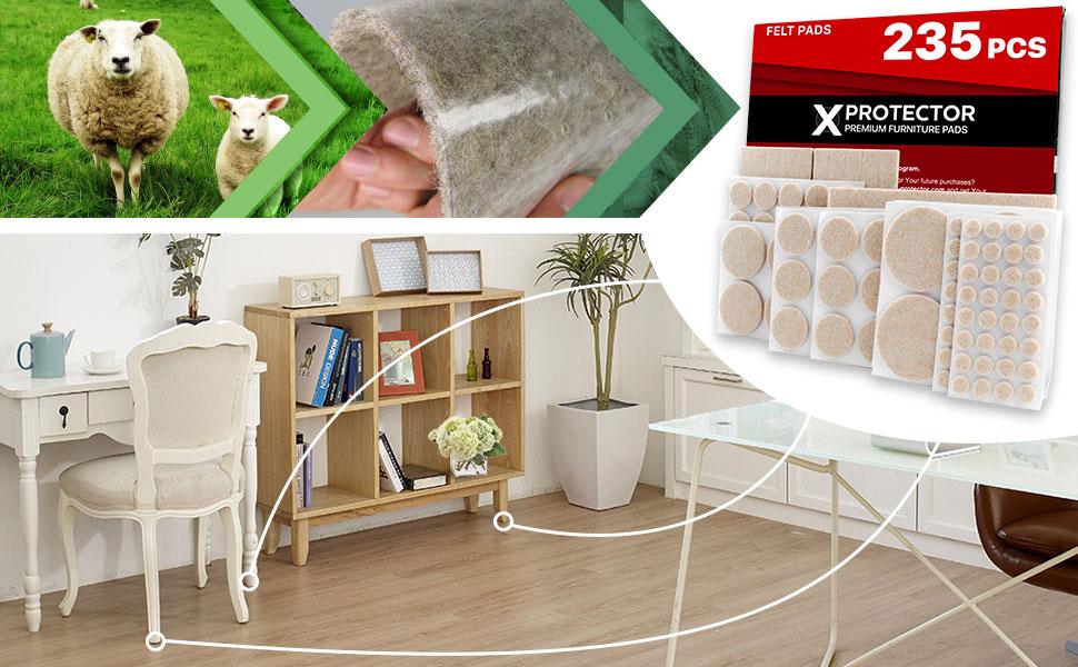Fenteer 5 Pi/èces Patins Feutre Protection pour Meubles pour Prot/éger le Plancher en Bois Chaise Table Sofa 22x22mm carr/é