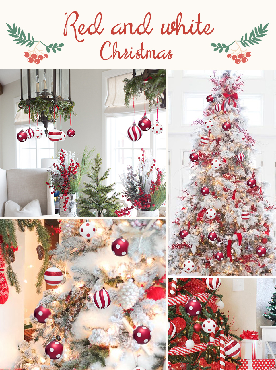 KI Store 12pcs Christmas Tree Balls Ornaments with Red and White ...