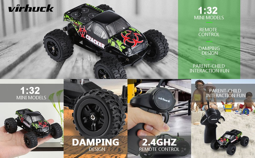Virhuck 1 32 Scale 2wd Mini Rc Car 2 4ghz 4ch Off Road Vehicle