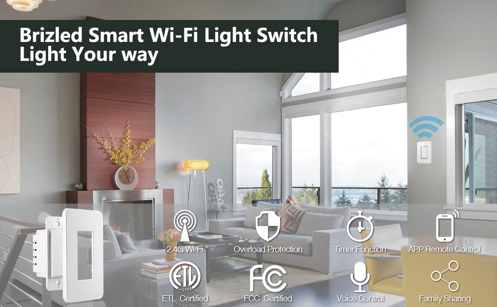 Compatible with Alexa/Google Assistant/IFTTT Dimmer Wi-Fi