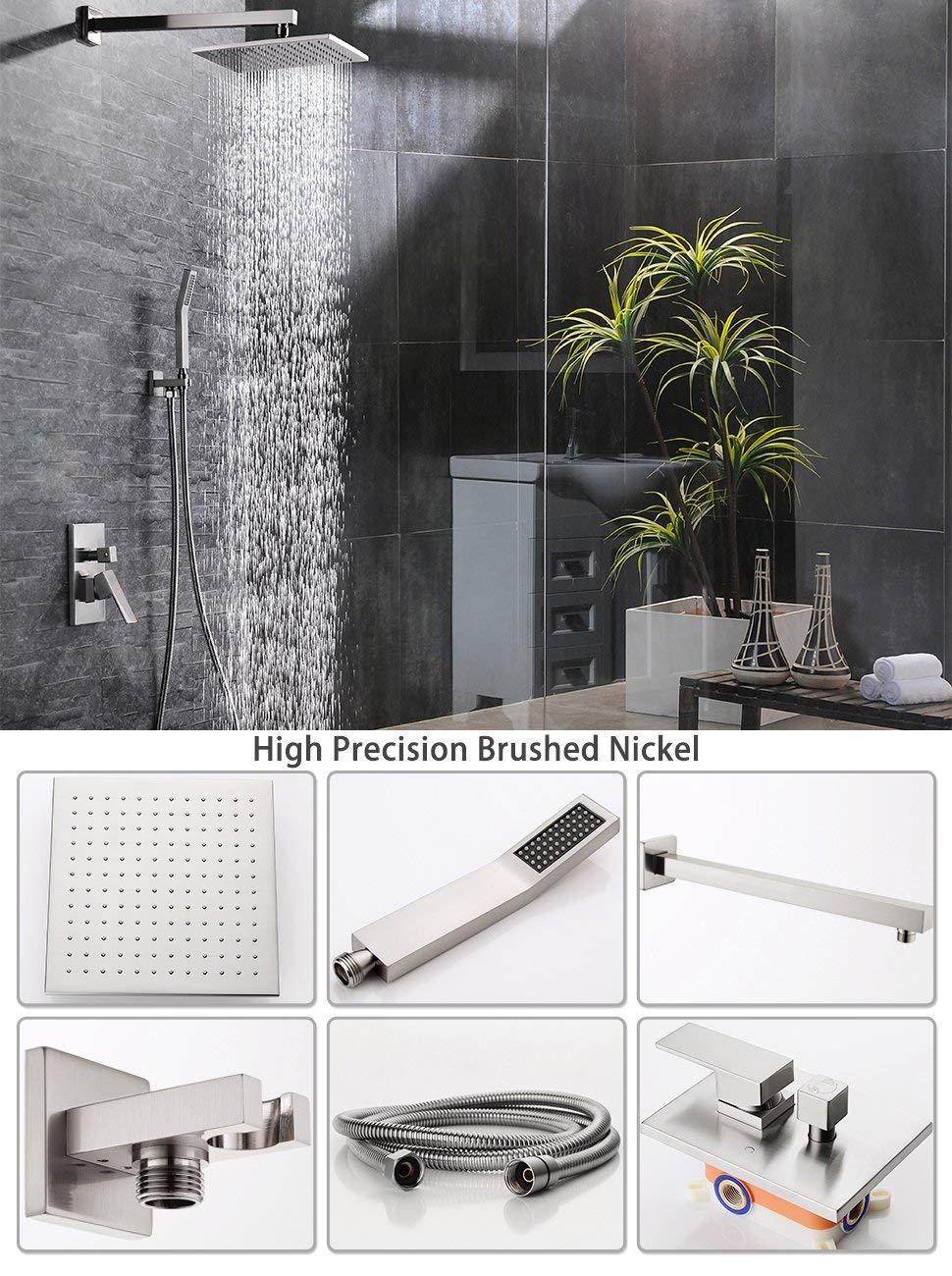 SR Sun Rise Shower Faucet Brushed Nickel Bathroom 12 inch Luxury ...