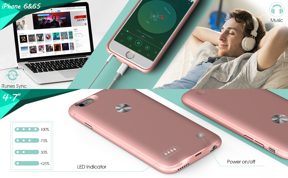 best website 15a92 29808 iPhone 6 6s Battery Case,Smiphee 2500mAh Portable Charging Case for iPhone  6 6s(4.7 inch) Extended Battery Juice Pack/Lightning Cable Input Mode-(Rose  ...