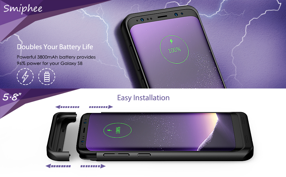 sale retailer e568f 9ba8c Galaxy S8 Battery Case, Smiphee 3800mAh Portable Charging Case for Samsung  Galaxy S8(5.8 inch) Protective Extended Battery Fast Charger Case/Power ...