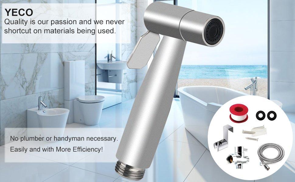 Toilet Hand Held Bidet Shattaf Sprayer, YECO Premium Stainless Steel ...