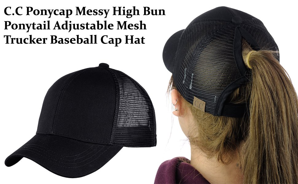 4141867460753d C.C Ponycap Messy High Bun Ponytail Adjustable Mesh Trucker Baseball Cap Hat