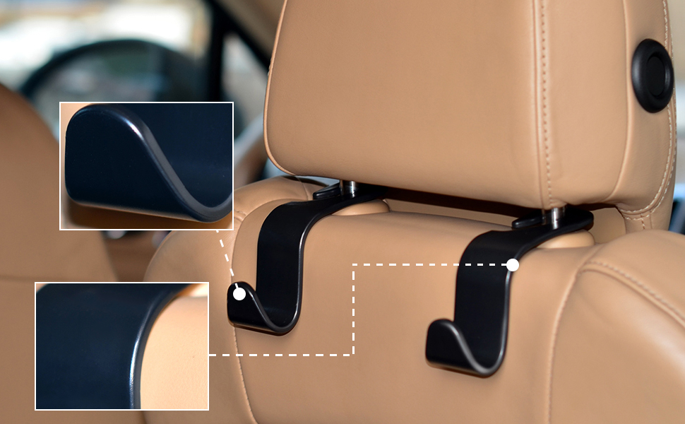 4 PCS Car Seat Back Hook Auto Headrest Hangers Portable Organizer Holder Hooks Features 1 Environmentally Protection ABS MaterialToughness