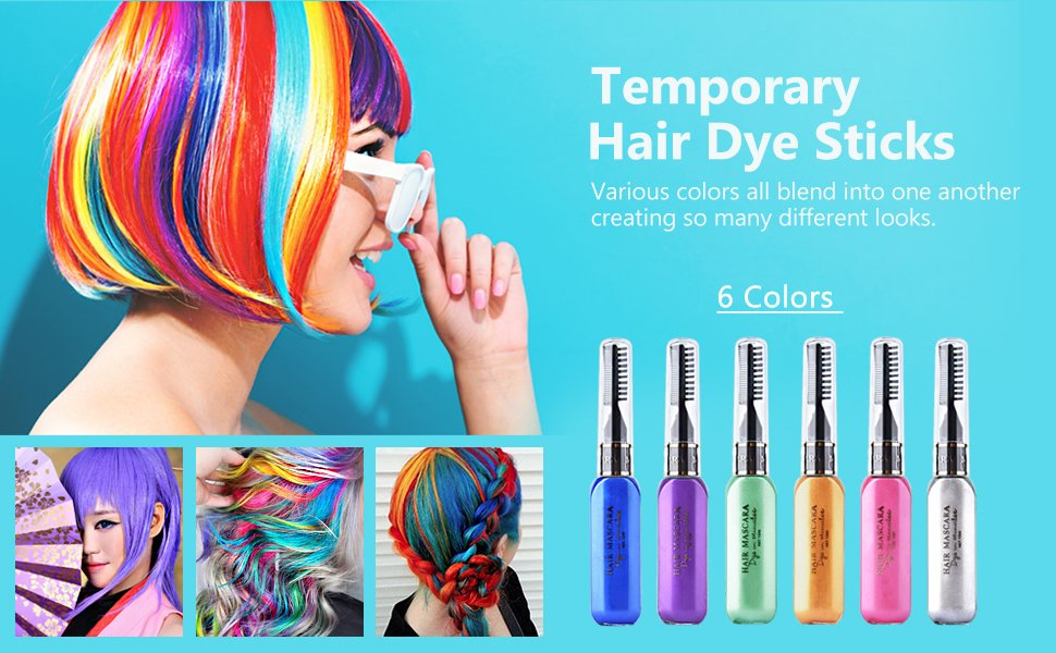 Hailicare 6 Colors Temporary Hair Coloring Chalk Hair Dye Colorful