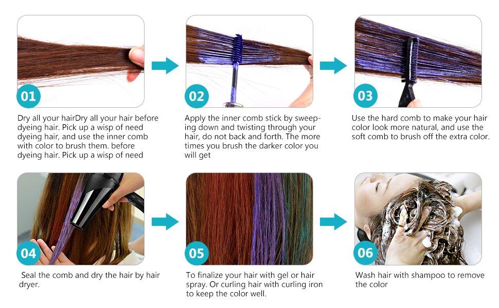 Hailicare 6 Colors Temporary Hair Coloring Chalk Hair Dye Colorful