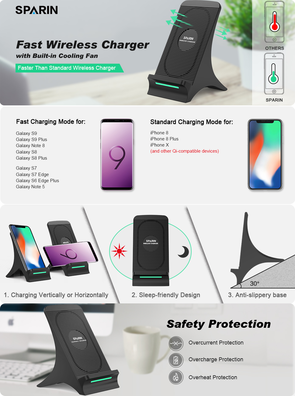 Samsung Galaxy S9 Plus Fast Wireless Charger Sparin 2 Coils Qi Original S8 Charging With Built In Cooling Fan For Note 8