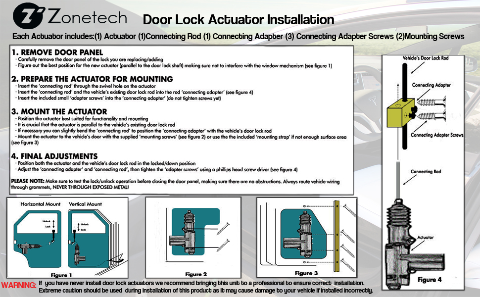 the zone tech power door lock actuator are low-cost and easy to install,  restoring the convenience and safety you expect from power door locks and  works