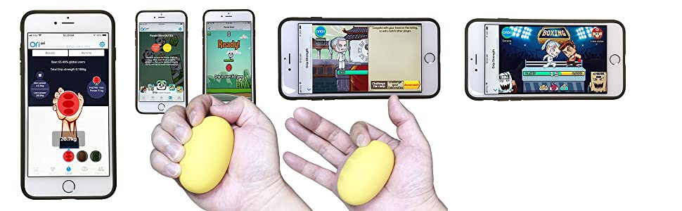 Lookee Smart Ball - Hand Exerciser Grip Strengthener & Trainer with App & Battle Games
