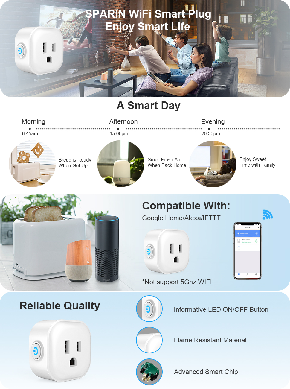 [4 Pack] WiFi Smart Plug Compatible with Alexa, IFTTT, Google Home, SPARIN  Mini Wireless Smart Socket Outlet Remote Control Your Devices from