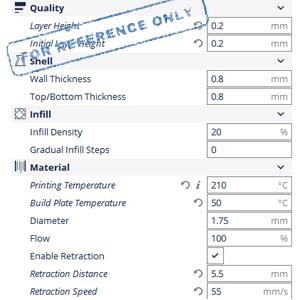 CCTREE 1KG TPU (Flexible) Printing Parameter