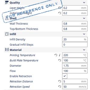 CCTREE 1KG ABS Printing Parameter