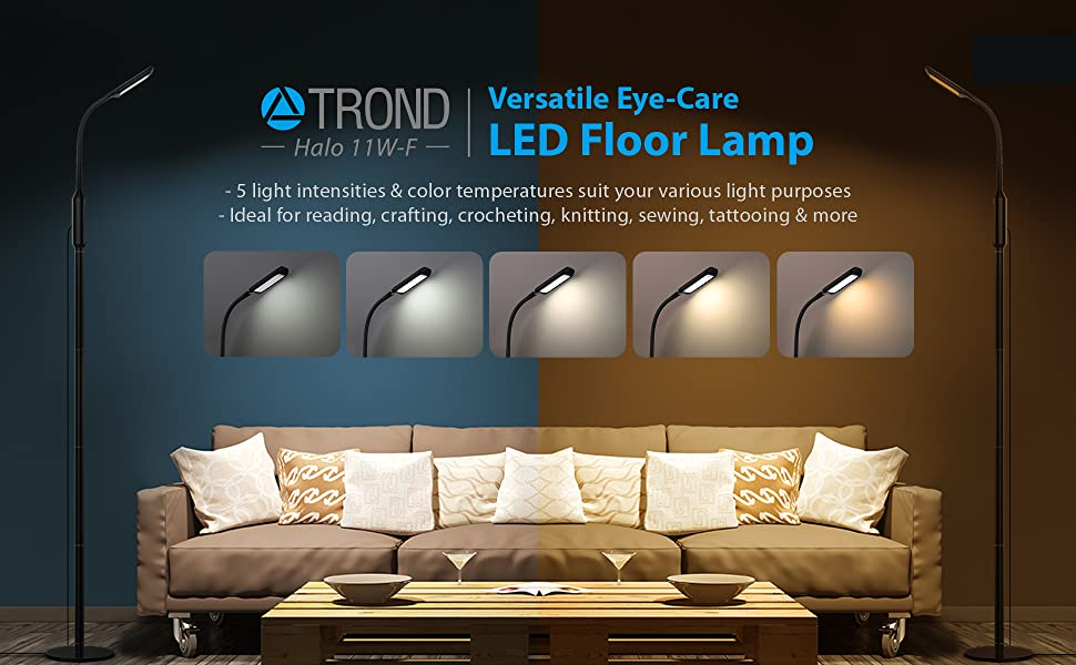 Trond Led Gooseneck Floor Lamp Dimmable For Reading