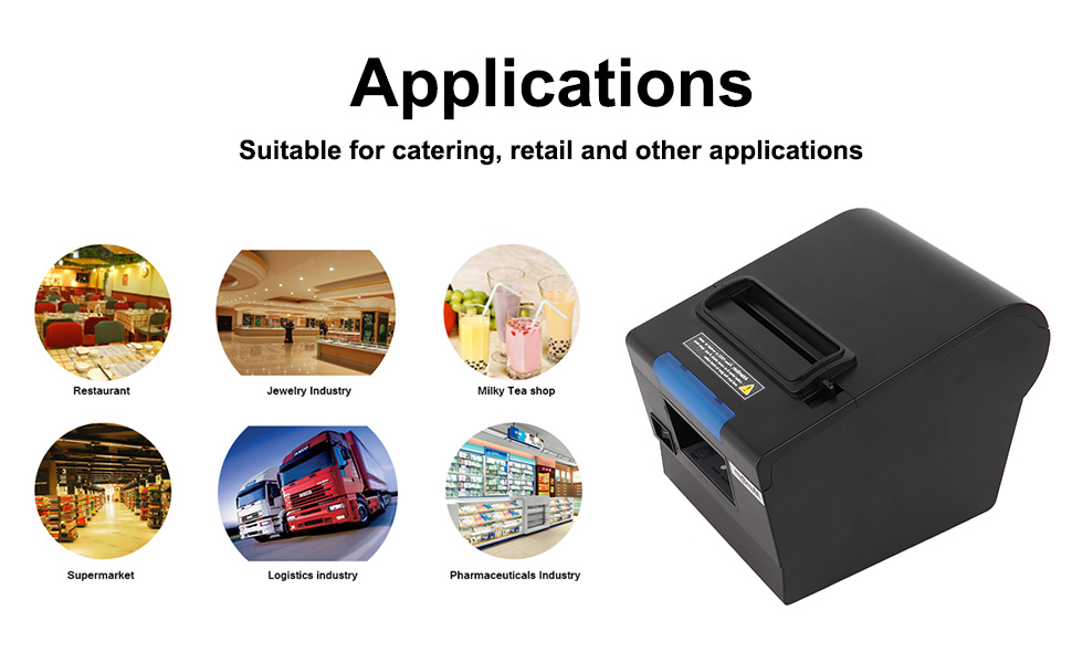 80mm Thermal Receipt POS Printer MUNBYN Auto Cutter Printer USB Serial Ethernet