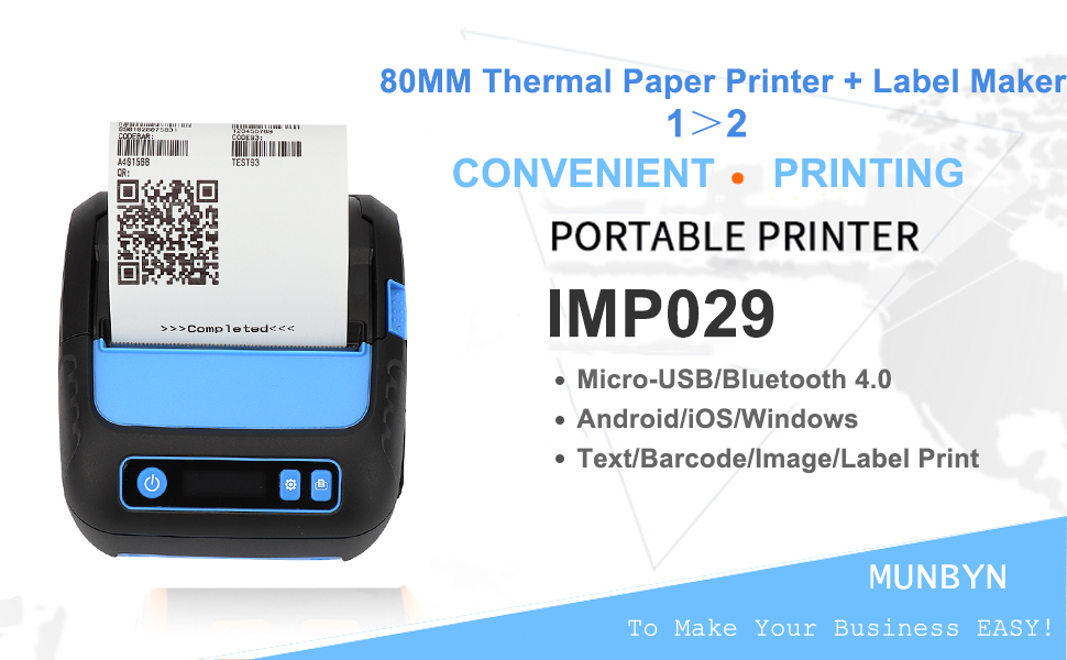 80mm Thermal Receipt Printer Wireless Bluetooth Shipment Label Maker Printer 3 in 1 Mobile Printer