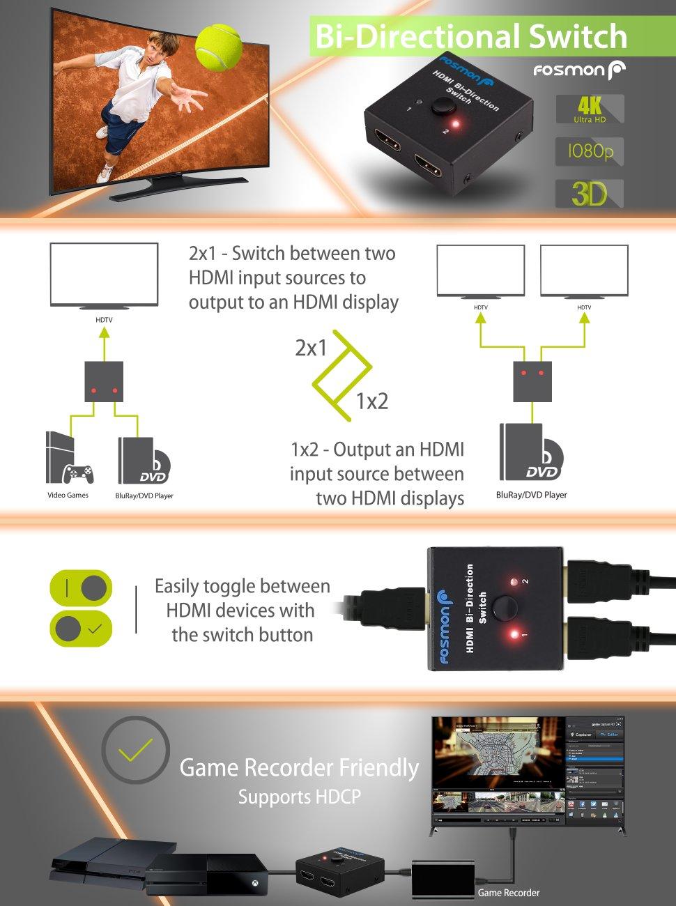 4k Commutateur Hdmi Hub 1080p Switch Splitter 3d 3 Ports Full Hd Répartiteur High Standard In Quality And Hygiene Wire, Cable & Conduit Tv, Video & Audio Accessories