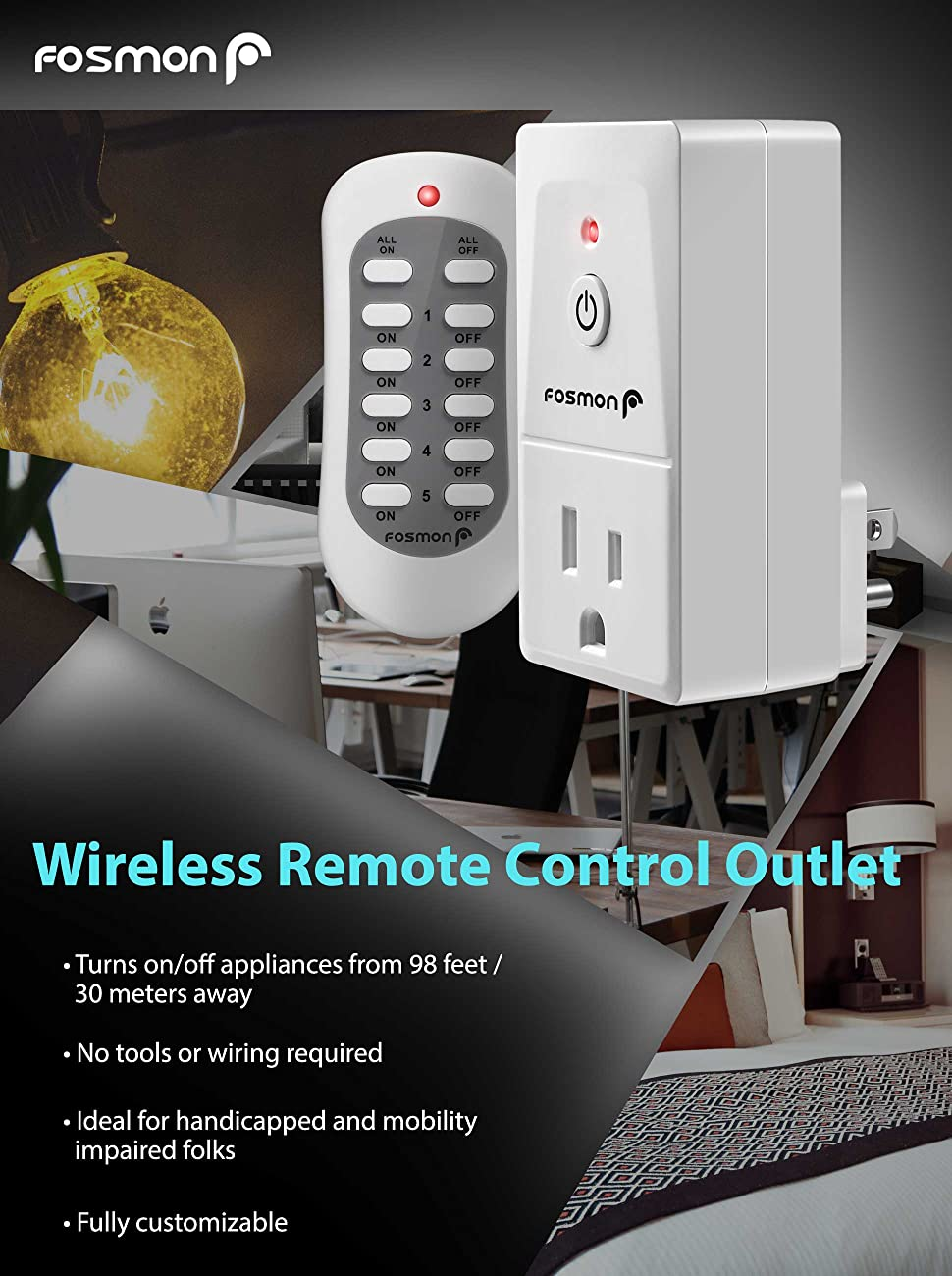 Wireless Remote Control Outlet (3 Pack), Fosmon 3-Prong Indoor ...