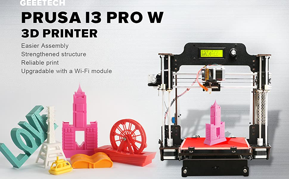 GEEETECH 3D Printer,Wooden Prusa I3 Pro W Desktop 3D Printer DIY Kit with  WiFi Cloud,200x200x180mm(7 9''7 9''7 1'')Printing Size,Support 3D WiFi