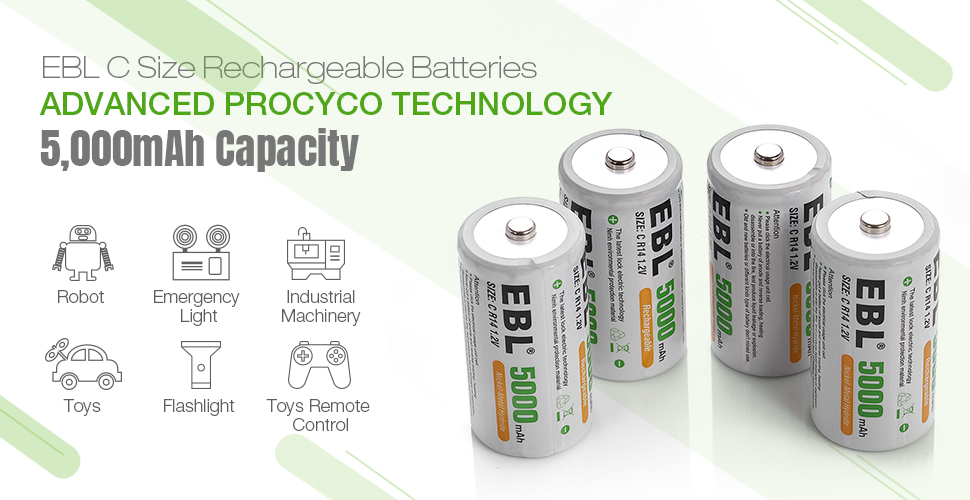 EBL C Size Battery Adapters Use for Ni-MH Rechargeable AA Battery Cells 4 Pack
