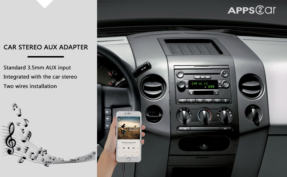 APPS2Car Car Stereo AUX Adapter Auxiliary Cable Cord for Ford Edge  Expedition Explorer F150 F250 F350 F550 Focus Freestyle Fusion Mustang  Sport Trac,