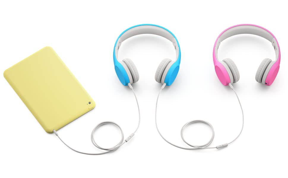 Blue and pink Connect+ headphone connect via the SharePort to a device, making sharing easy
