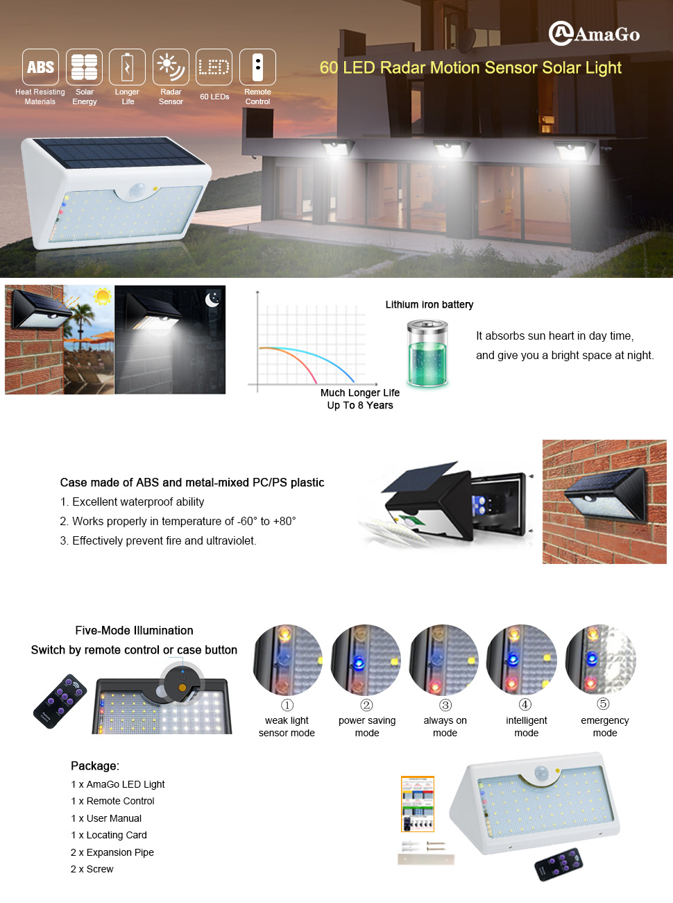 Amago Solar Wall Lights 60 White Leds Of Wide Range 1300 Lumens Wiring Diagram Two Rechargeable Led Light Is Now Available Come To Pick One Or And Up Your Hall Gate Garden Etc Which Could Help Avoid The