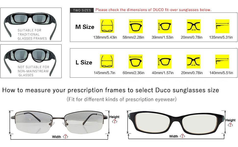 73c2be374f Duco Unisex Wear Over Prescription Glasses Rx Glasses Polarized ...