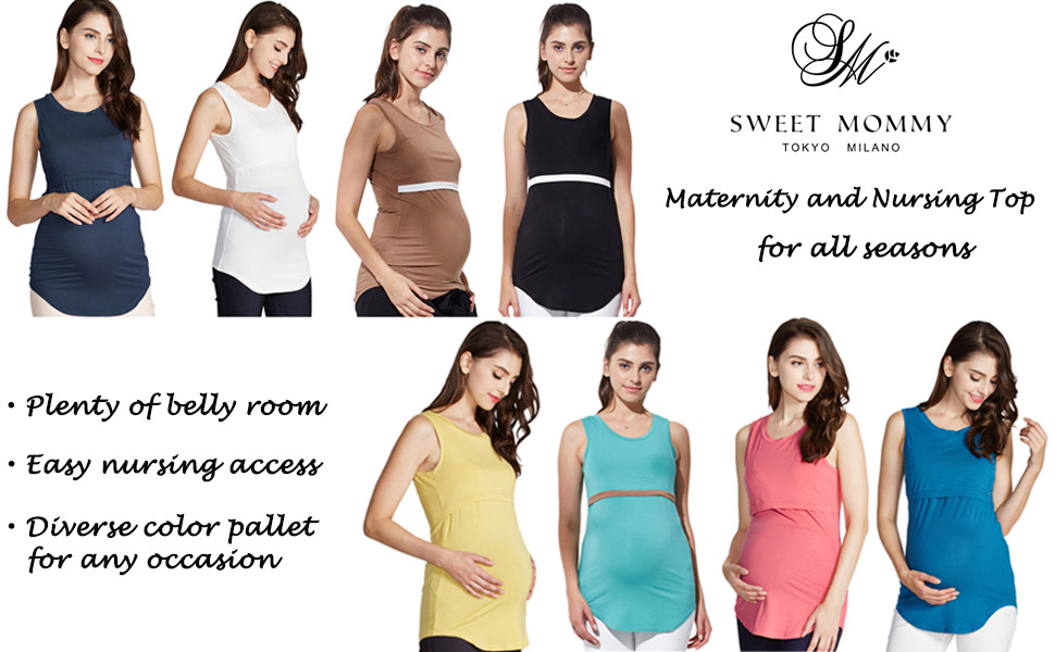 de477e7bc3d Sweet Mommy Bamboo Simple Maternity and Nursing Long Tank Top ...