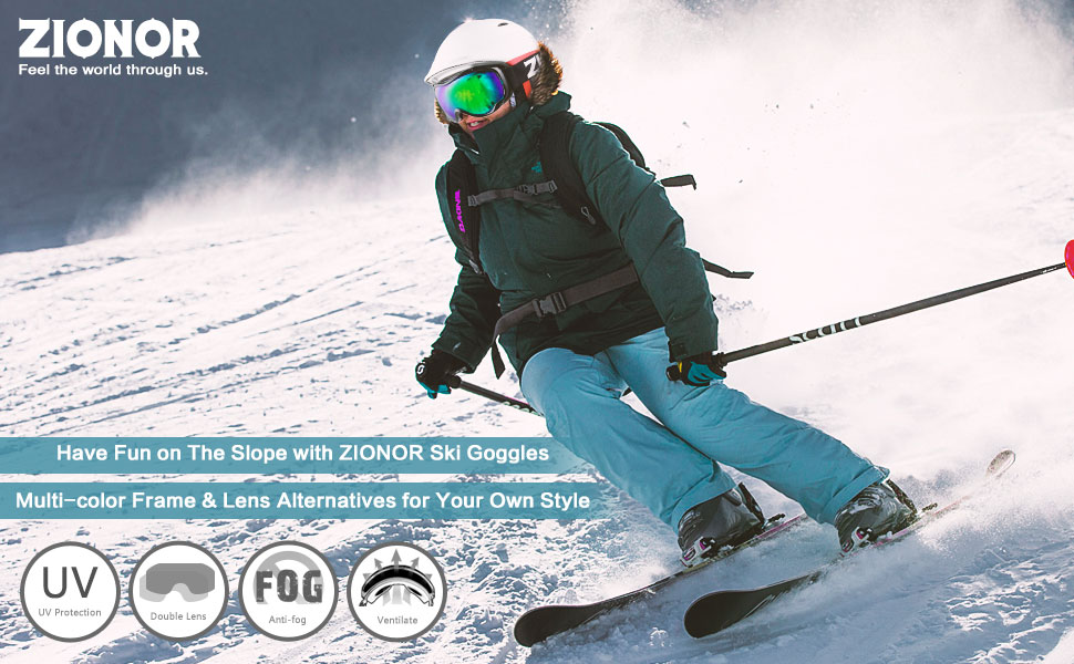 7ad048900e2 ZIONOR Lagopus Ski Snowboard Goggles UV Protection Anti-Fog Snow ...
