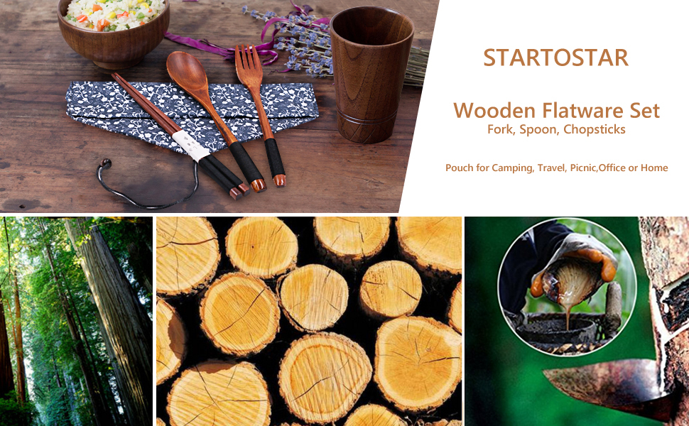 Startostar Wooden Flatware Set Of 5 Piece With Pouch For Camping Travel Picnic Office Or Home Fork Spoon Chopsticks Amazon Ca Home Kitchen