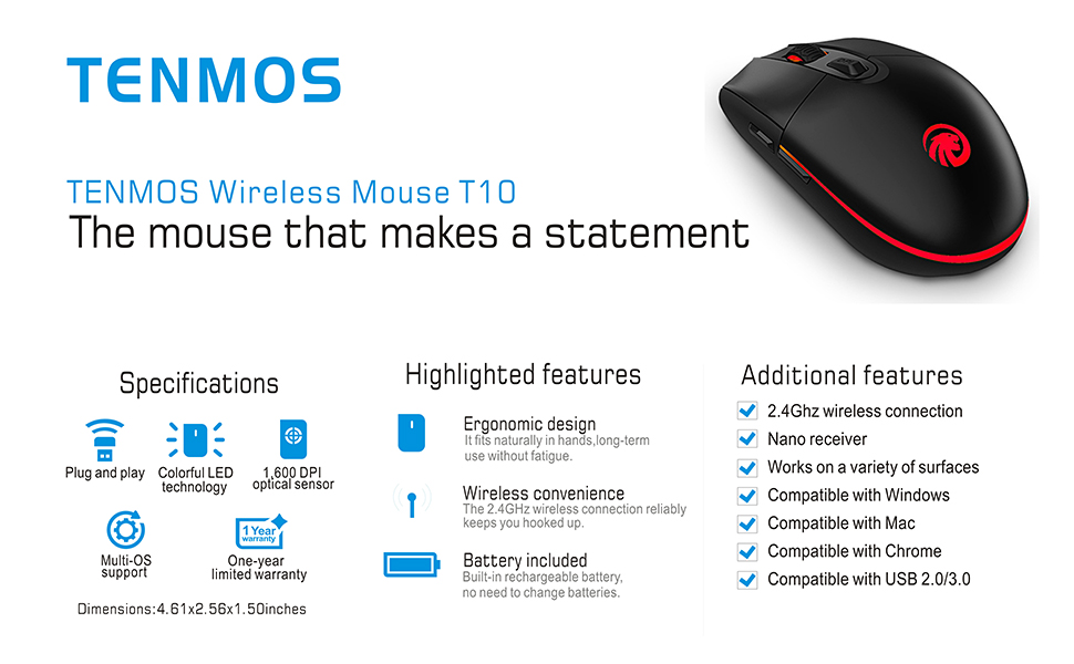 d8e45b41416 TENMOS T10 Wireless Computer Mouse Rechargeable Optical Led 2.4GHz ...