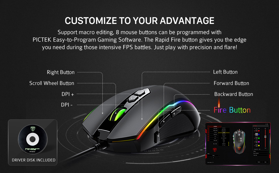 PICTEK Gaming Mouse, [RGB Backlit] [7200 DPI] [8 Programmable Buttons]  Gaming Mice, Wired Computer Mouses with Fire Power Button, 7 Customized RGB