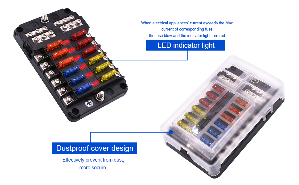 bluefire blade fuse box fuse box holder standard circuit fuse holder box  block with led indicator light & protection cover