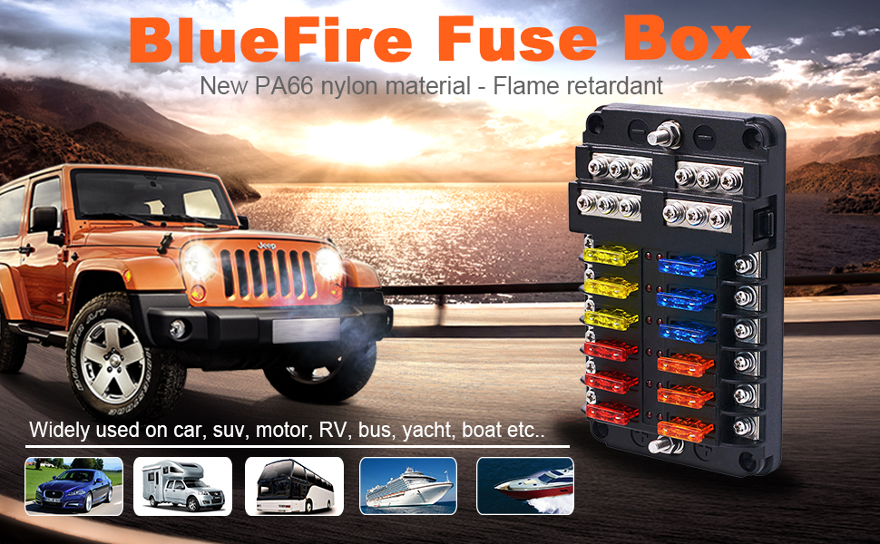 bluefire upgraded 12 way blade fuse box fuse holder with led indicator,  fuses & protection cover for car boat marine truck yacht rv