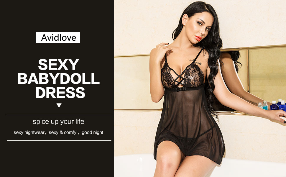bf2e269a35f30 Strapy V Neck Lingerie Women Mini Babydoll Sleepwear Lingerie Set Sexy Lace  Lingerie Nightdress Sheer Gown Chemise G-string