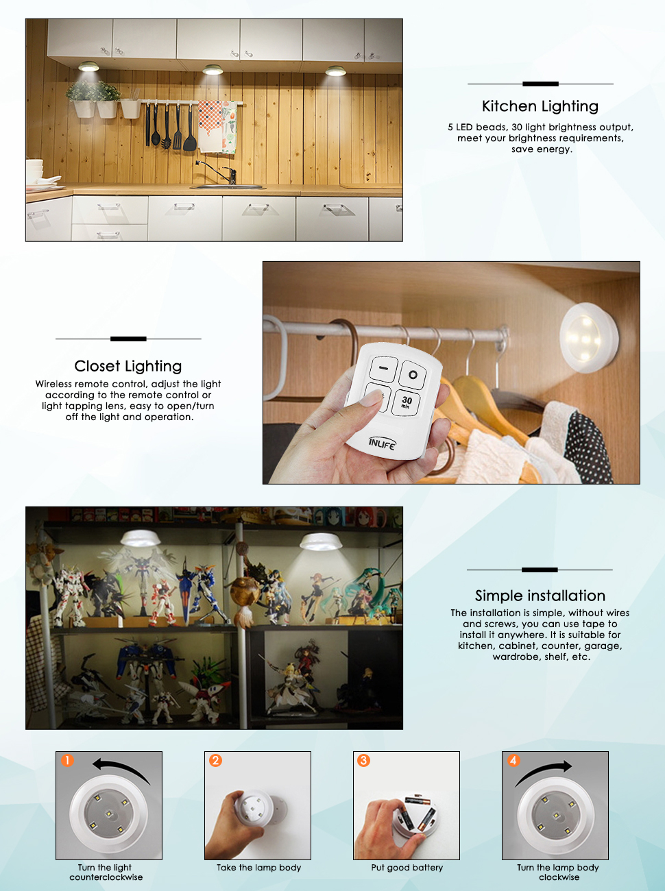 Diligent Wireless 5 Led Night Light Under Cabinet Wardrobe Closet Kitchen Push Touch Tap Night Light Lamp Stick On Battery Power Lights & Lighting