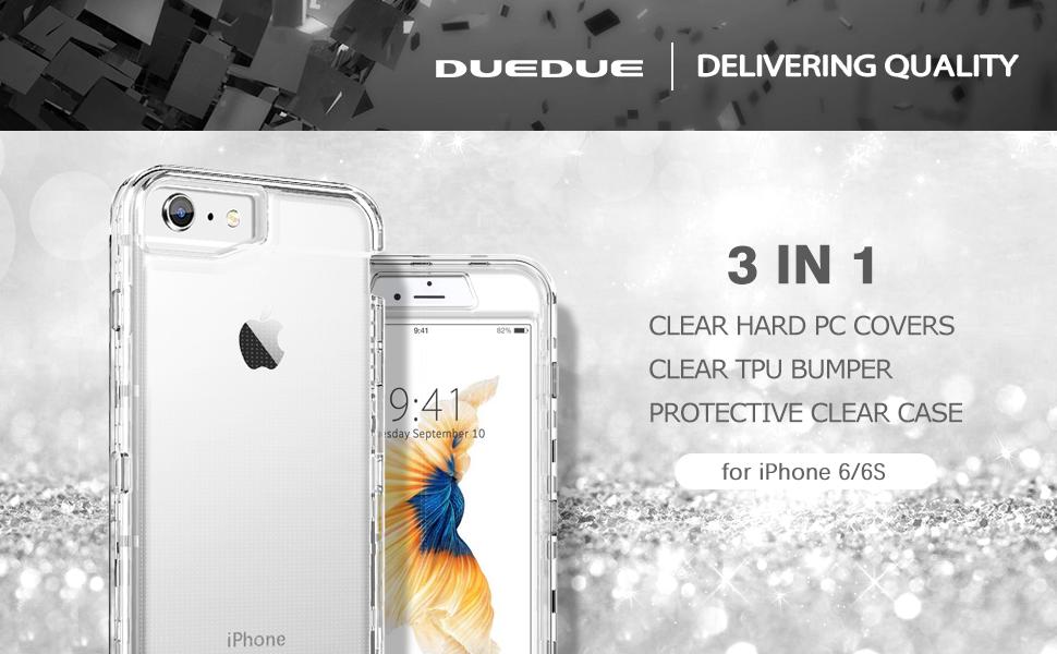 Duedue Coque hybride rigide 3 en 1 pour iPhone SE 2020, iPhone 6, iPhone 6S, coque de protection intégrale en TPU transparent résistant aux chocs pour ...