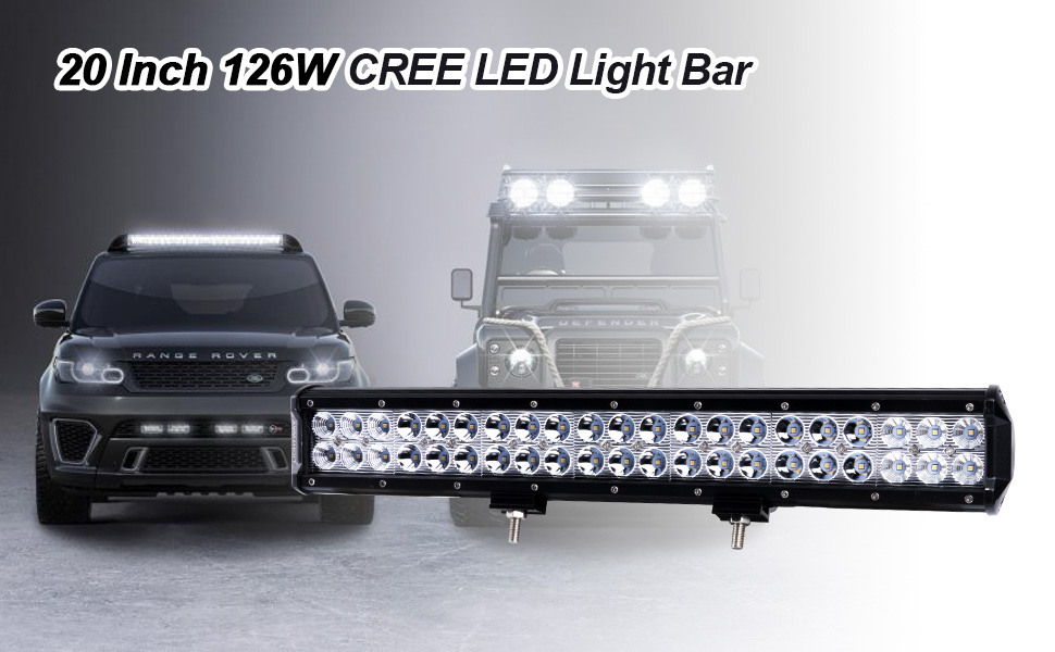 Lightfox 20inch 126w cree led light bar spot flood combo work 20inch 126w cree led light bar spot flood combo work light aloadofball Choice Image