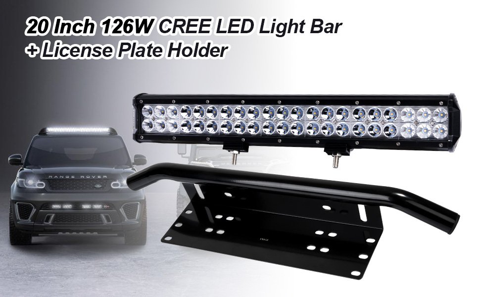 Liteway 20 inch 126w cree led light bar 23inch license plate holder universal aluminum light bar mount bull bar style front bumper number plate lightweight yet quite sturdy aluminum construction featured with powder coated rust free aluminum with max capa Gallery