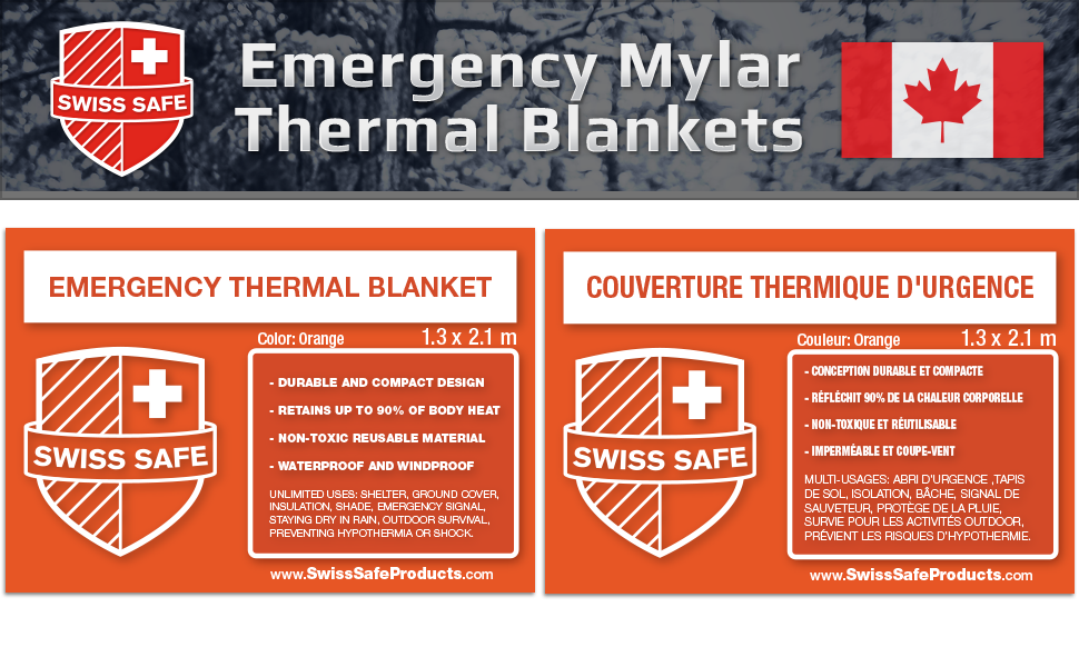Swiss Safe Or Emergency Mylar thermique de survie Couverture