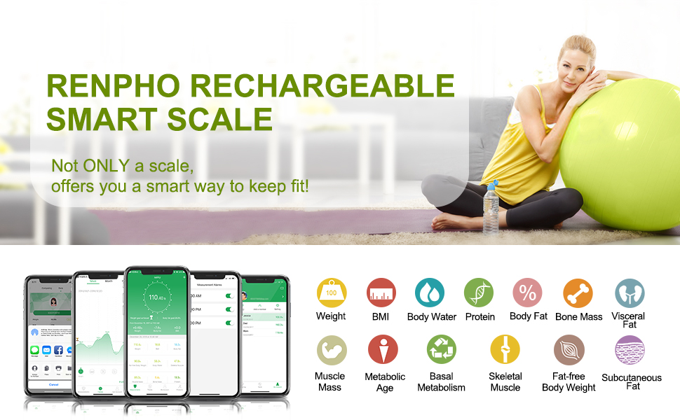 RENPHO USB Chargeable Bluetooth Body Fat Scale Smart Digital Bathroom Scale  with Smartphone App, Body Composition Monitor for Body Fat, BMI, Bone