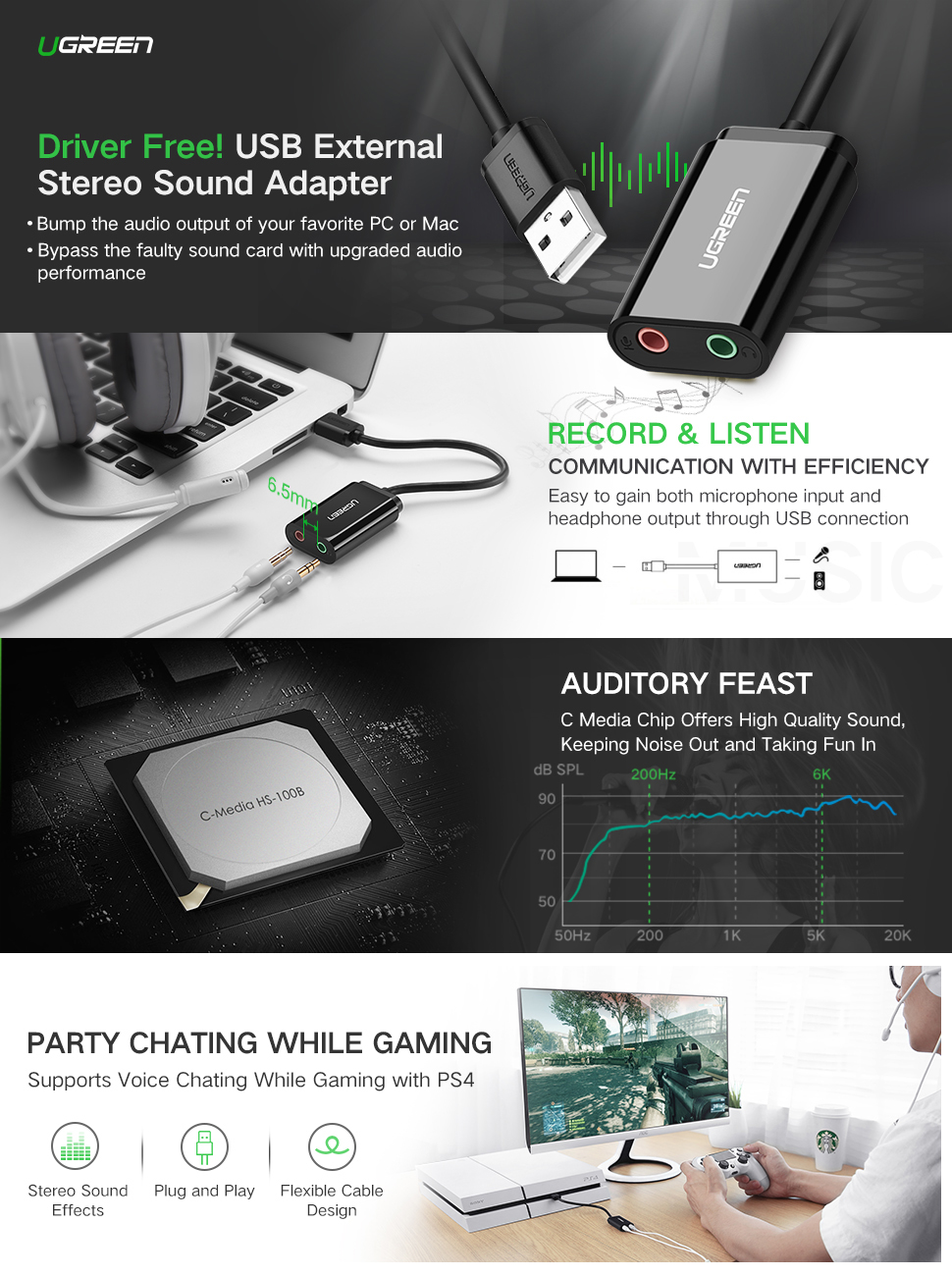 UGREEN Universal USB Stereo Audio Adapter L/R Channel 3-Position with 3 5mm  USB to 3 5mm Speaker/Headphone Output and Mono Microphone Input Plug&Play